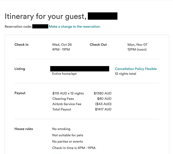 First Big AirBNB Booking